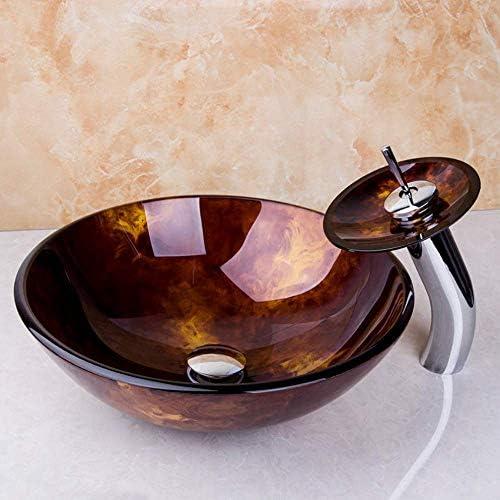 アーティストデザインのバスルーム洗面所の洗面シンクの強化ガラス洗面ボウル容器ハンドが完了真鍮蛇口絵画,操作簡単