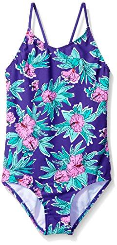 Kanu Surf Little Girls' Daisy Beach Sport One Piece Swimsuit, Krista Floral Purple, 5