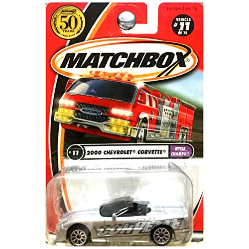Matchbox 2002 Style Champs 2000 Chevy Chevrolet Corvette Convertible Silver #11