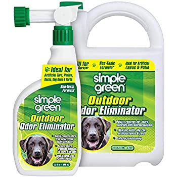 Outdoor Odor Eliminator for Pets, Dogs, Ideal for Artificial Grass & Patio (32 oz Hose End Sprayer & 1 gallon Refill)