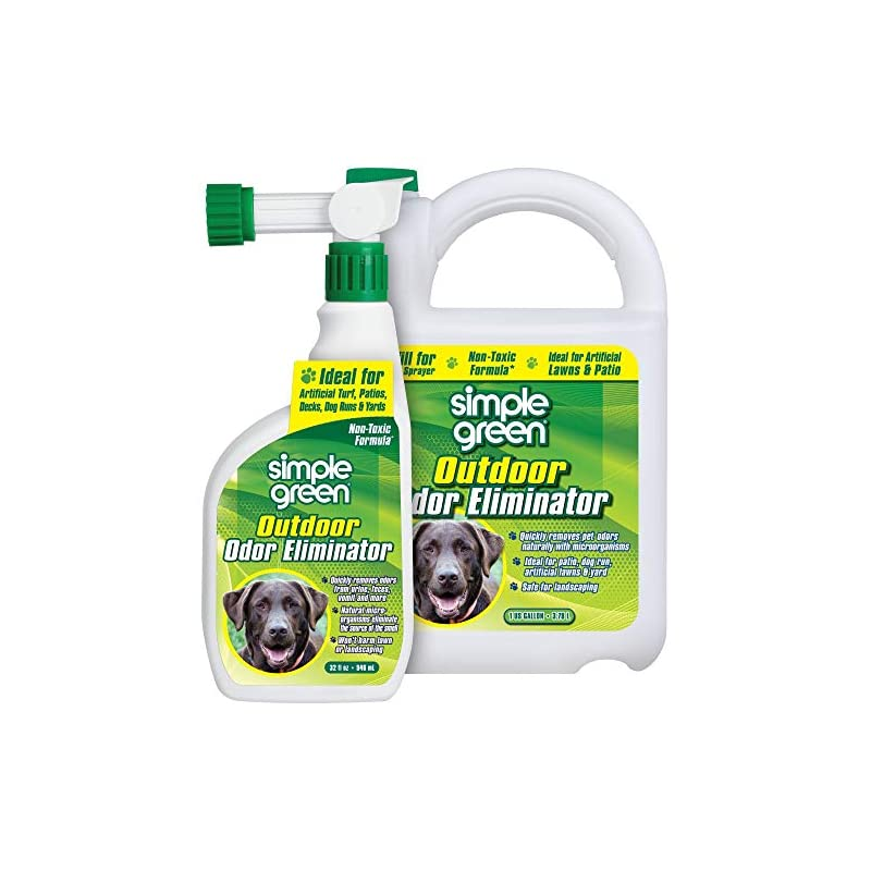 Simple Green Outdoor Odor Eliminator for Pets, Dogs, Ideal for Artificial Grass & Patio (32 oz Hose End Sprayer & 1 Gallon Refill)