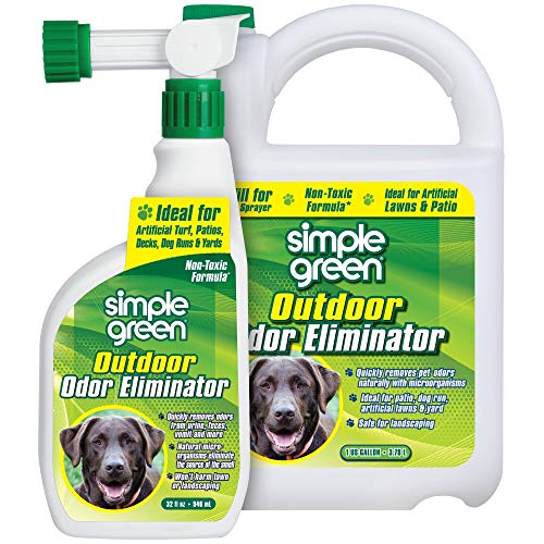 Outdoor Odor Eliminator for Pets, Dogs, Ideal for Artificial Grass & Patio (32 oz Hose End Sprayer & 1 gallon Refill)