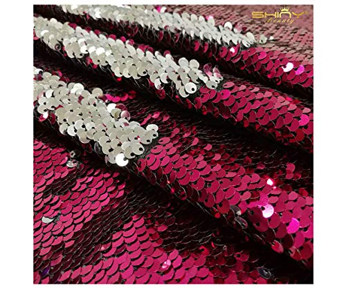 ShinyBeauty Reversible Sequin Fabric Fuchsia and Silver Mermaid Sequin Fabric Five Yards Flip Up Sequin Fabric ~1024S ()