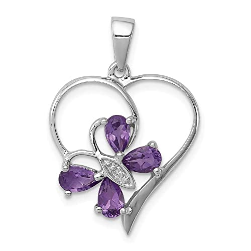 Sterling Silver Diamond and Amethyst Charm Pendant