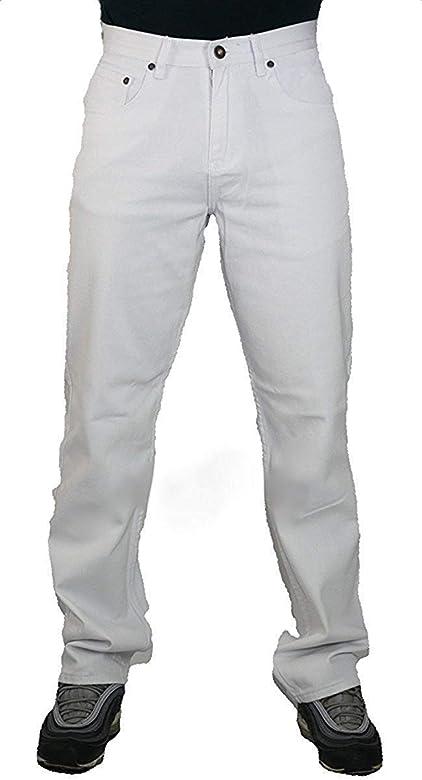 MENS JEANS WHITE DENIM COMFORT FIT GEORGIO PEVIANI STRAIGHT LEG GOOD QUALITY