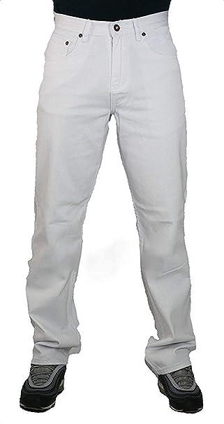 Peviani Jeans color blanco para hombre, comodidad g fit, tipo straight fit, pantalones Urban Star Wash, de mezclilla de algodón.