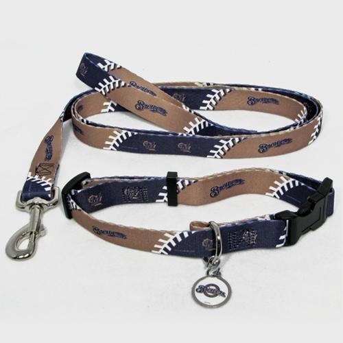 Hunter Manufacturing HUN-4100-14-3900 Milwaukee Brewers MLB Dog Collar & Leash Set