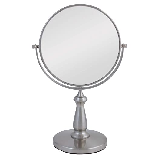 Zadro VAN48 Two-Sided Vanity Swivel Mirror, Satin Nickel, 1X and 8X