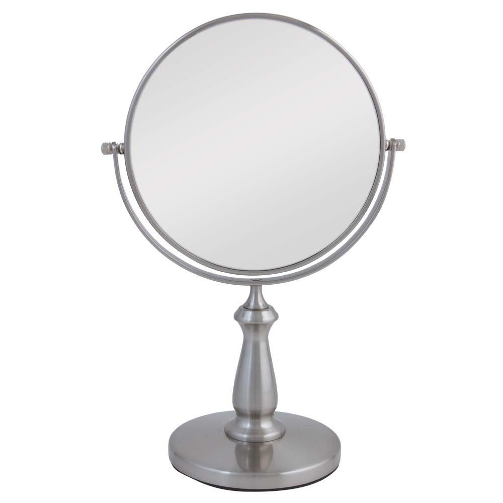 Zadro VAN48 Two-Sided Vanity Swivel Mirror, Satin Nickel, 1X and 8X