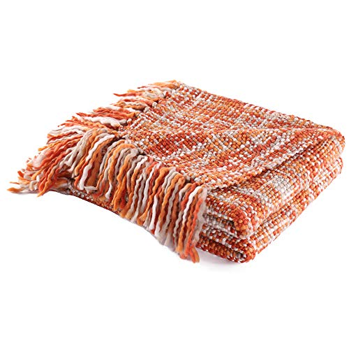 Battilo Rustic Style Acrylic Throw Blanket Measuring, Orange ()