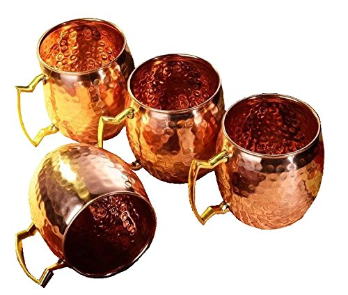 Brass Copper Tin (Zap Impex ® Pure Copper Hammered Moscow Mule Mug With Solid Brass Handle Set Of 4- 16)