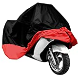 Wonderoto Motorcycle Cover Universal Protective Outdoor Cover with Storage Bag, Waterproof Dustproof Ultra Violet Protective, Black and Red