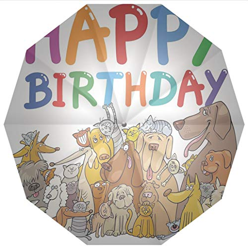 - 10 Ribs Travel Umbrella UV Protection Auto Open Close Birthday Decorations for Kids,Cartoon Streets Dogs Cats Animals Party Themed Quote Windproof - Waterproof - Men - Women -Lightweight- 45 inches