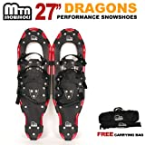 New MTN Extreme Lightweight All Terrian Man Woman Kid Teen Snowshoes up to 255 lbs /Free Bag - Red (27'' inch)