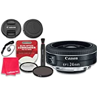Canon EF-S 24mm f/2.8 STM Lens with Elite Optics Commander Pro HD Series Ultra-Violet Protector UV Filter & Circular Polarizer CPL Multi-Coated Filter - International Version