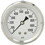 PIC Gauge S202L-254M Glycerin Filled Industrial Center Back Mount Pressure Gauge with Stainless Steel Case, Brass Internals, Plastic Lens, Single Scale, 2-1/2
