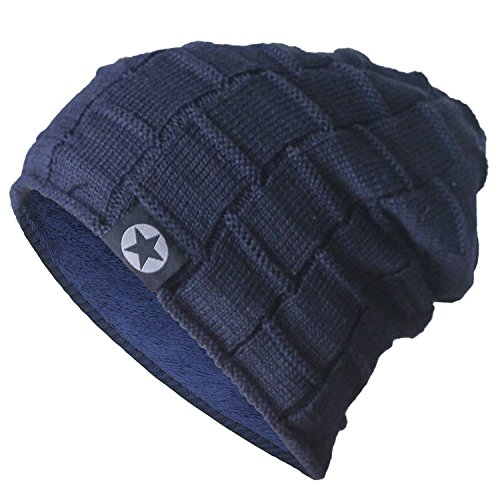 Bodvera Unsix Winter Knit Wool Warm Hat Soft Slouchy Beanie Skully Cap in 3 color,One Size,Navy