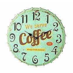 Creative Co-Op Metal Bottle Cap Wall Clock, Aqua