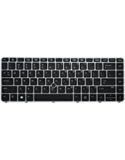 AUTENS Replacement US Keyboard (1 Year Warranty) for HP EliteBook 745 G3 / 745 G4 / 840 G3 / 840 G4 / 848 G3 Laptop with Pointer and Backlit (Silver Frame)