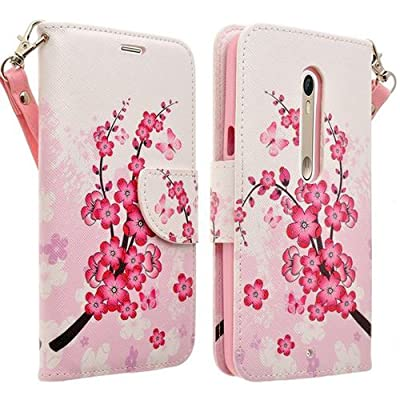 SumacLife Self Stand Wallet Case for MOTOROLA Droid Turbo 2 - Retail Packaging - Cherry Blossom by SumacLife