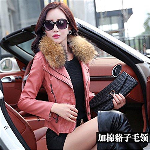 Generic Real_ fur collar leather leather pants suit new winter Women 's fashion _plus_ cotton _two-piece_ suit jacket