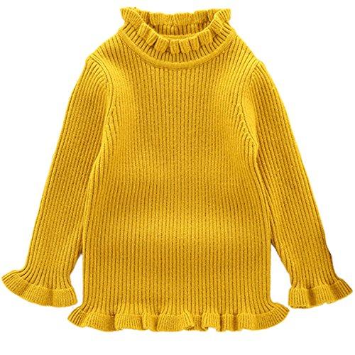 Little Girls Kids Long Sleeve High Neck Ruffle Knit Sweety Sweatshirt Sweatar 6-12 Months (Ruffle Neck Cardigan)
