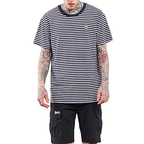 2319cba15d72 Honghu Men s Spring Summer Fashion Stripe Printing Loose Short Sleeves T-Shirt  Size X-L Black