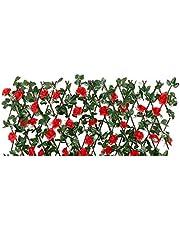 الواح اشجار صناعية بزهور من دينبيتك، سور للخصوصية قابل للتوسيع، اوراق ايفي صناعية، سور بمربعات متشابكة، خلفية من النبات الصناعي للشرفة، للفناء والاماكن الخارجية والحديقة