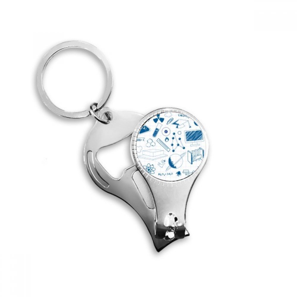Amazon.com : Blue Grid Hand Painted Simple Strokes Style Physical Chemistry Symbol Nail Clipper Key Chain Ring Cutter Tool Bottle Opener : Office Products