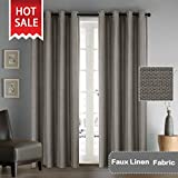 Wide Blackout Room Darkening Rich Quality of Linen Textured Curtains Home Fashion Ultra Sleep Window Panels Grommet Drapes -Taupe Gray - 52 inch Wide by 96 inch Long, set of 2