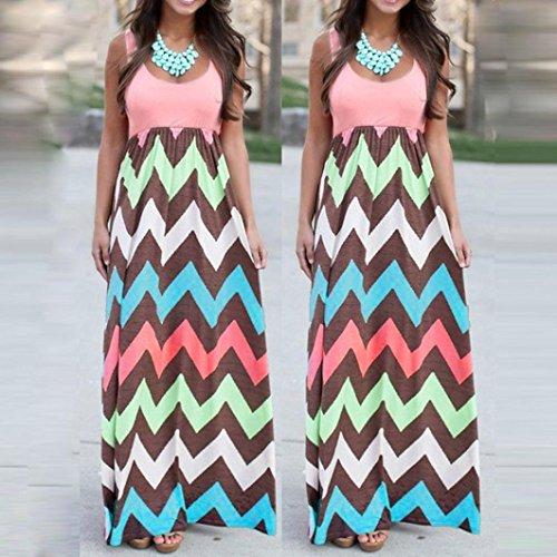 8ab4f95827 Fheaven Womens Long Striped Boho Dress Lady Beach Summer Sundress Maxi Dress  - Plus Size (