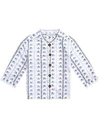 JoJo Maman Bebe Little Boys' Nehru Shirt (Toddler/Kid)-Blue