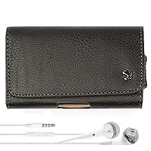 Blackberry Leap / Priv Smartphone Case, Rugged Landscape Leather Hip Holster w/Belt Clip, Loop [066] + VG Headphones