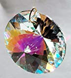 Sunburst Prism Aurora Borealis Suncatcher with Clear Center And a 32 Cut Highly Faceted 40mm 1-1/2 inch Crystal Clear Round Crystal Prism Comes to You Ready to Hang.