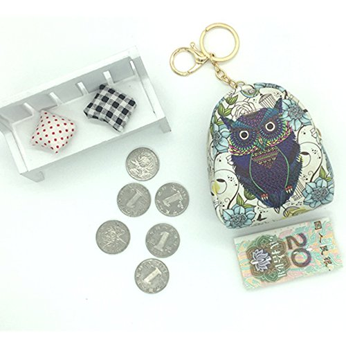 k Coin Purses, Handle Size Zipper Wallet Stud Paillette Cash Dollars Card Purse PU Leaher Key Ring Charm Coin Bag Pendant Gift (navy) (Leaher Bag)