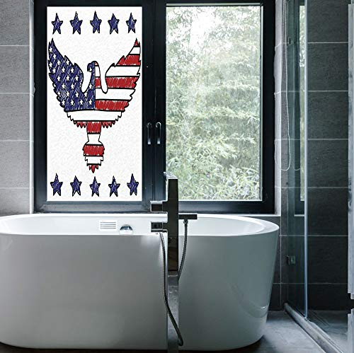 YOLIYANA The Visual Effect of Textured Glass and Stained Glass,American Flag Decor,is Good for Long Year Under The Sunshine,Sketch Patriotic Bald Eagle National Icon Majestic Emblem,24''x48'' (Glass Eagle Stained Bald)