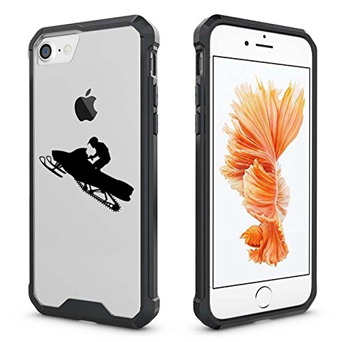 For Apple iPhone Clear Shockproof Bumper Case Hard Cover Snowmobile Rider (Black for iPhone 7) ()