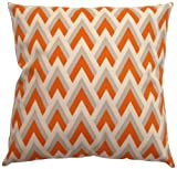 JinStyles Chevron Spike Cotton Canvas Decorative Throw Pillow Cover (Gray and Orange, 18 x 18 Inches)