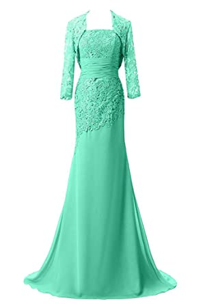 QY Bride Vintage Mother of The Bride Prom Dresses with Lace Jacket 2 Aqua