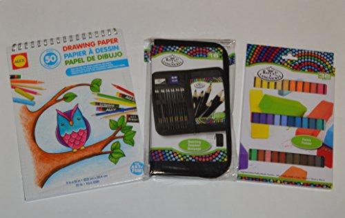 Alex Drawing Paper Sketchbook Bundle for Beginners with Keep N\' Carry Artist Set, Royal Langnickel Sketch Pencils and Royal Langnickel Pastels