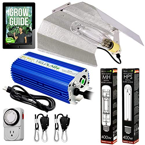 Yield Lab Horticulture 400w HPS MH Grow Light Wing Reflector Kit Easy Setup Full Spectrum System for Indoor Plants and Hydroponics - Free Timer and 12 Week Grow Guide DVD