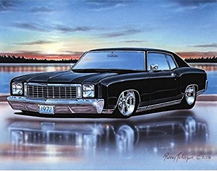 Amazon Com 1972 Chevy Monte Carlo Ss 454 Muscle Car Art Print Black