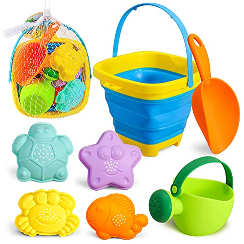 3 otters Foldable Beach Bucket, Sand Toys Set Foldable Pail Colorful Beach Bucket with Sand Molds Collapsible Silicone Buckets 7PCS