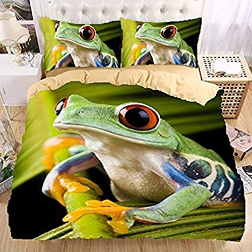 Mangogo Lively 3D Frog Boys Kids Twin 2pc Duvet Cover Pillowcase Bedding Sets Colorful Green