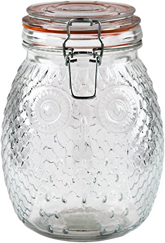Whimsical Owl Bail and Trigger Canister -52 OZ. Clear Glass Round Jar with Tight Lids for Bathroom or Kitchen - Food Storage Containers (52 Round Glass Table Top)