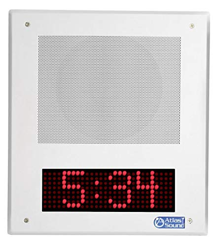 (Atlas Sound IP Speaker with Digital Clock - I8SC-CK - VOIP Phone Speaker - PoE SIP Telephone Loudspeaker System - Loud Ringer - Ceiling or Wall Mounted Voice Intercom for Paging and Notifications )