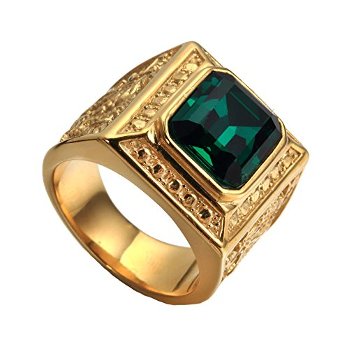 PAURO Men's Stainless Steel Vintage Golden Square Ring Chinese Style Domineering Dragon with Big Stone Green Size 10 ()
