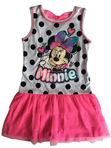 Disney Little Girls' Minnie Mouse Tank Dress with Tulle Skirt Pink Size 4