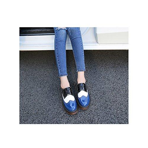 plataforma de Zapatos plana de 05Azul encaje zapatos OCHENTA de Moda SwxTnv