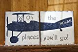 Vintage Airplane Boys Nursery Wall Decor Oh The Place You'll Go Wood Sign For Sale